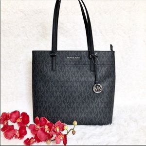 Michael Kors zippered black logo tote bag NWT
